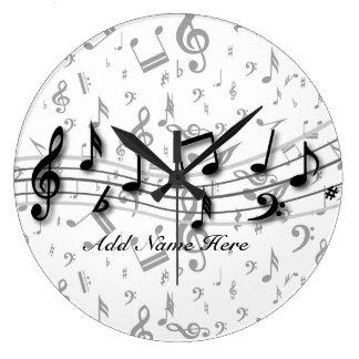 Notas musicales negras y grises personalizadas reloj redondo grande