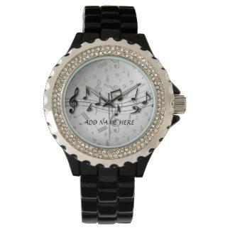 Notas musicales negras y grises personalizadas relojes de pulsera