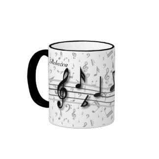 Notas musicales negras y grises personalizadas taza