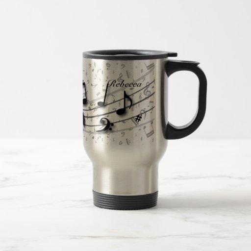 Notas musicales negras y grises personalizadas taza de café
