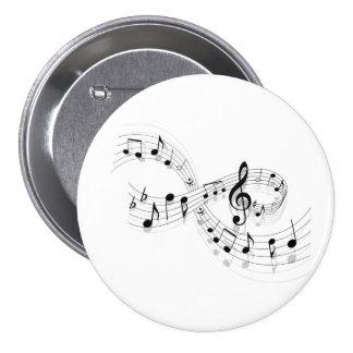 Notas musicales sobre una línea de personal botón