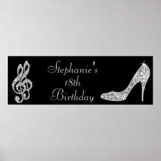 Notas negras/de plata de la música y cumpleaños posters