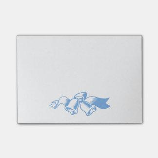Notas pegajosas azules de Belces de navidad