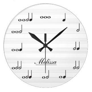 Notas personalizadas de la música reloj redondo grande