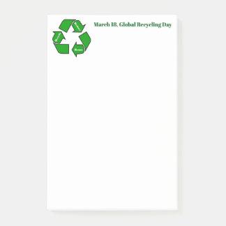 Notas Post-it® 18 de marzo, diseño de reciclaje global del día