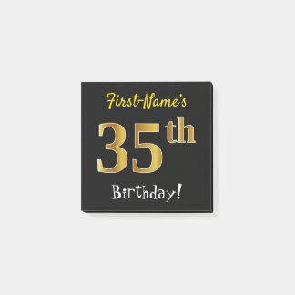 Notas Post-it® 35to cumpleaños del oro negro, falso, con nombre