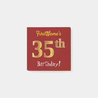 Notas Post-it® 35to cumpleaños del oro rojo, falso, con nombre de