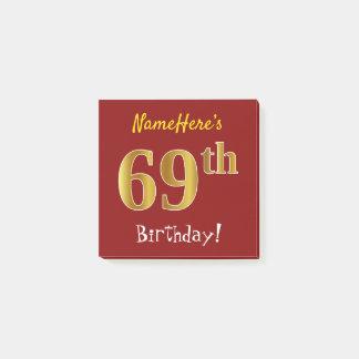 Notas Post-it® 69.o cumpleaños del oro rojo, falso, con nombre de