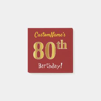 Notas Post-it® 80.o cumpleaños del oro rojo, falso, con nombre de