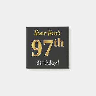 Notas Post-it® 97.o cumpleaños del oro negro, falso, con nombre