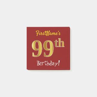 Notas Post-it® 99.o cumpleaños del oro rojo, falso, con nombre de