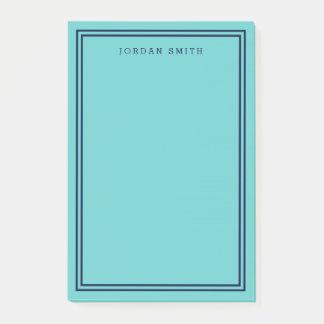 Notas Post-it® Aguamarina verde azulada con las fronteras dobles