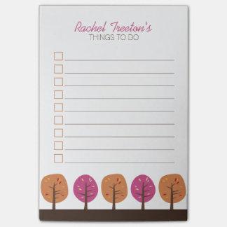 Notas Post-it® Árboles retros de la caída para hacer la lista