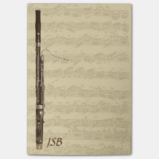 Notas Post-it® Bassoon en monograma del personalizado de la