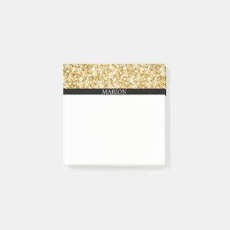 Notas Post-it® Blanco y modelo del brillo del oro