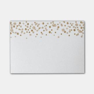 Notas Post-it® Brillo atractivo del confeti del oro