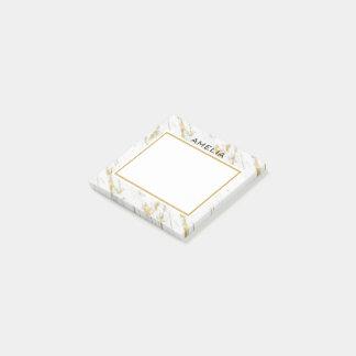 Notas Post-it® Brillo de piedra de mármol blanco con monograma