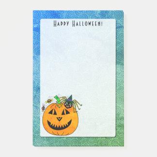 Notas Post-it® Bruja y calabaza 4 x 6 de la araña de Halloween