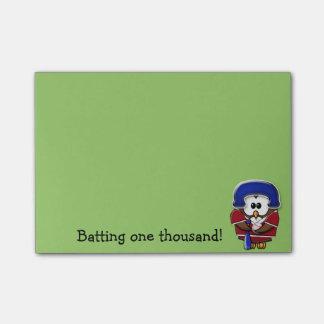 Notas Post-it® búho del jugador de béisbol
