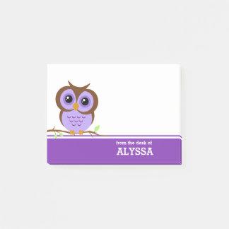 Notas Post-it® Búho púrpura personalizado