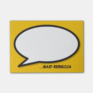 Notas Post-it® Burbuja personalizada del discurso del arte pop