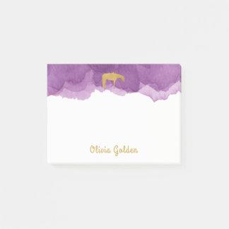 Notas Post-it® Caballo occidental de la textura de oro púrpura de