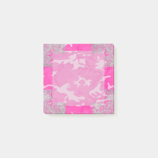 Notas Post-it® Camo rosado con falso brillo