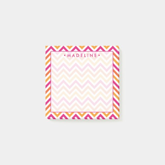 Notas Post-it® Chevron rosado y anaranjado