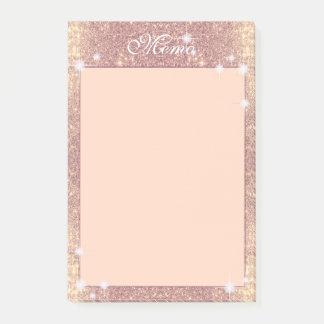 Notas Post-it® Chispa subió brillo rosado del oro falsa