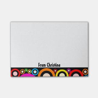 Notas Post-it® Círculos y nombre abstractos retros