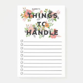 Notas Post-it® Cosas florales rosadas para manejar - nombre del