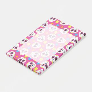 Notas Post-it® Cráneos bonitos y lindos del azúcar en rosa