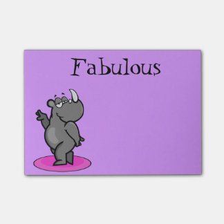 Notas Post-it® Dibujo animado fabuloso del rinoceronte