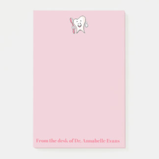 Notas Post-it® Diente y cepillo rosados