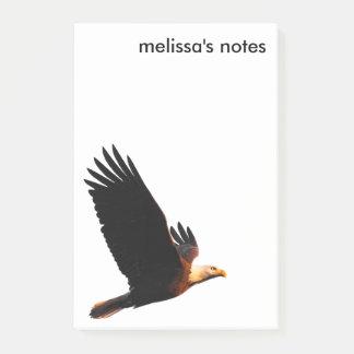 Notas Post-it® Eagle calvo impresionante en vuelo de la puesta