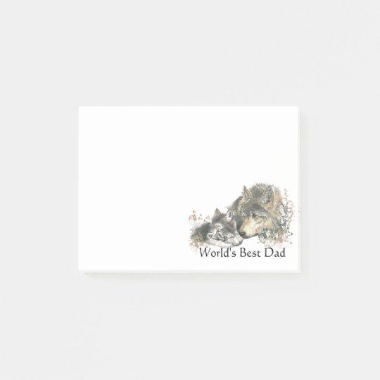 Notas Post-it® El mejor arte del lobo de la acuarela del papá del