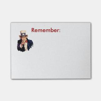 Notas Post-it® El tío Sam recuerda el post-it