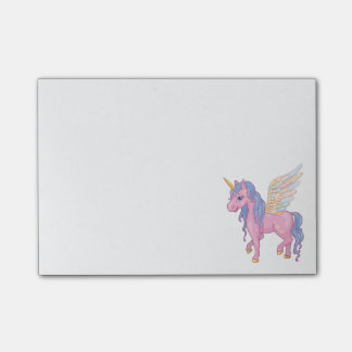 Notas Post-it® El unicornio lindo con el arco iris se va volando