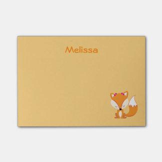 Notas Post-it® El zorro lindo personaliza color de oro