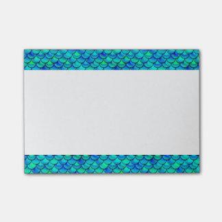 Notas Post-it® Escalas del azul de la aguamarina de Falln