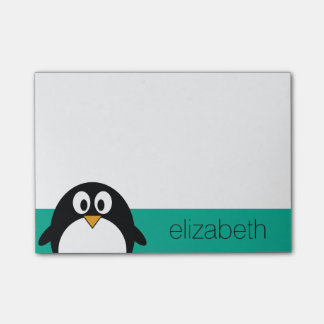 Notas Post-it® esmeralda linda y negro del pingüino del dibujo