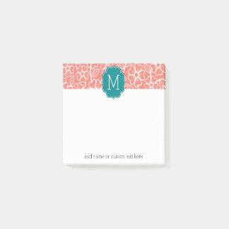 Notas Post-it® Estampado de flores enrrollado con el monograma de