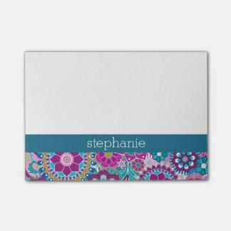 Notas Post-it® Estampado de flores verde azulado y rosado con