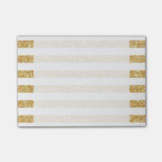Notas Post-it® Falso brillo elegante del oro y modelo blanco de