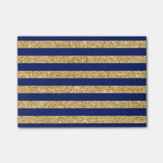 Notas Post-it® Falso brillo elegante del oro y modelo de la raya