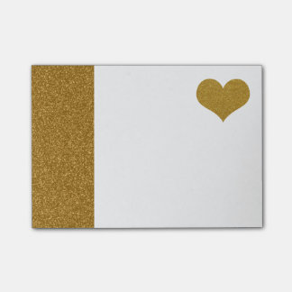 Notas Post-it® FALSO corazón del brillo del oro (plano impreso)