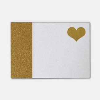 Notas Post-it® FALSO corazón del brillo del oro (plano impreso)