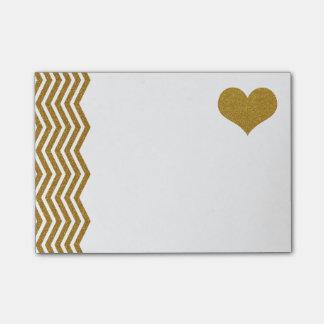 Notas Post-it® FALSO zigzag y corazón (plano impreso) del brillo