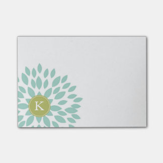 Notas Post-it® Flor floreciente del trullo con inicial verde del