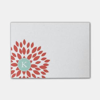 Notas Post-it® Flor floreciente rojo con el monograma del trullo